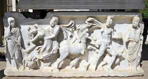 Bas-relief on the sarcophagus Stock Photography