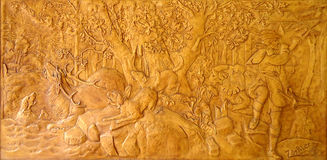 Bas-relief with scenes of hunting Stock Image