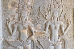 Bas-relief sculpture at Angkor Wat, Cambodia Stock Images