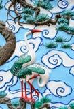Bas relief sculpture of crane Royalty Free Stock Photos
