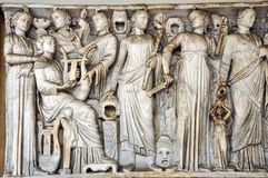 Bas-relief and sculpture details in stone of Roman Gods and Empe. Bas-relief, statue and sculpture details in stone of Roman Gods and Emperors Stock Photo