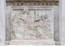 Bas-relief sculpture West side of the main entrance to the Robert N.C. Nix, Sr. Federal Building. Pictured is a bas-relief sculpture by Alfred-Alphonse Bottiau stock photo
