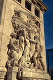 Bas Relief Sculptures Along The 1928 la rivière Chicago Images libres de droits