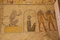 Bas relief of Seth and Anubis. In the tomb of Ramesses IX stock photo