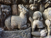 Bas Relief som visar den olika etappen av livet av Lord Buddha in mot nirvana, Borobudur tempel, centrala Java, Indonesien Arkivbilder