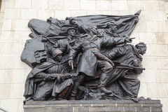 Bas-relief of the Soviet soldiers Stock Photos