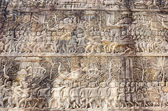 A Bas-Relief Statue of Khmer Culture Stock Image