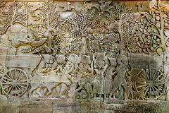 Bas Relief Statue of Khmer Culture in Angkor Wat. Stock Photography
