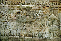 Bas Relief Statue of Khmer Culture in Angkor Wat. Royalty Free Stock Images
