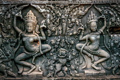 Bas Relief Statue of Khmer Culture in Angkor Wat. Bas Relief Statue of Khmer Culture in Angkor Wat, Cambodia Stock Photo