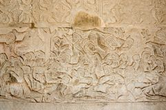 A Bas-Relief Statue of Khmer Culture. In Angkor Wat, Cambodia Stock Images