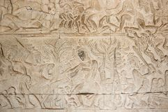 A Bas-Relief Statue of Khmer Culture. In Angkor Wat, Cambodia Stock Photo