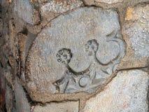 Bas Relief Stone Carving, Girona, Spagna fotografia stock libera da diritti