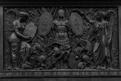 Bas relief in stone. Close up of ancient scene in bas relief in stone Stock Photo