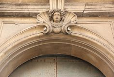 Bas Relief. A stone Bas Relief forms a decoration on a building in the historic centre of Napels, Italy Stock Photo
