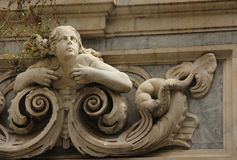 Bas Relief. A stone Bas Relief forms a decoration on a building in the historic centre of Naples, Italy Royalty Free Stock Image