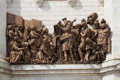 The bas-relief of the temple of Christ the Savior in Moscow Royalty Free Stock Photography