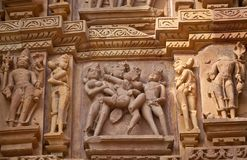 Bas-relief at the temple in Khajuraho, India Royalty Free Stock Images