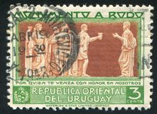 Bas relief. URUGUAY - CIRCA 1948: stamp printed by Uruguay, shows Bas relief, circa 1948 Stock Images