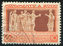 Bas relief. URUGUAY - CIRCA 1948: stamp printed by Uruguay, shows Bas relief, circa 1948 Royalty Free Stock Photo