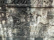 Bas-relief on the wall, Angkor, Cambodia Stock Photo