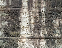 Bas-relief on the wall, Angkor, Cambodia Stock Image