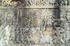 Bas-relief on the wall, Angkor, Cambodia Royalty Free Stock Image