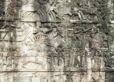 Bas-relief on the wall, Angkor, Cambodia Royalty Free Stock Photos