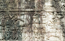Bas-relief on the wall, Angkor, Cambodia Royalty Free Stock Images
