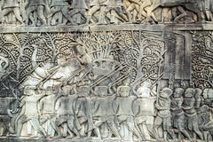 Bas-relief on the wall, Angkor, Cambodia Royalty Free Stock Photo