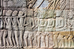Bas-relief on the wall of Angkor Wat Stock Photography