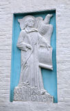 Bas-relief on the wall of John the Evangelist Cathedral Georgian Mother of God Royalty Free Stock Photo