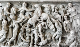 The bas-relief from the wall of the Roman sarcophagus in the sta Royalty Free Stock Image