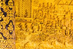 The bas-relief on the wall of the temple in Louangphabang, Laos. Close-up. Stock Photo