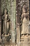 Bas-relief on the walls of the Angkor Watt royalty free stock image