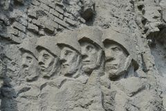 The bas-relief on the walls-the ruins of the monument-ensemble to Heroes of Stalingrad battle on Mamaev Kurgan in Volgograd Stock Photo