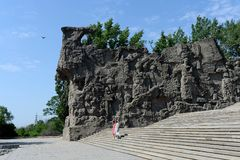 The bas-relief on the walls-the ruins of the monument-ensemble to Heroes of Stalingrad battle on Mamaev Kurgan in Volgograd. Royalty Free Stock Image