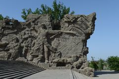 The bas-relief on the walls-the ruins of the monument-ensemble to Heroes of Stalingrad battle on Mamaev Kurgan in Volgograd. Royalty Free Stock Images