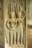 Bas-relief With Apsaras At Angkor Wat Temple Royalty Free Stock Images