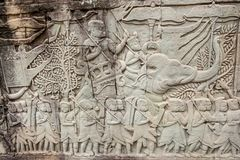 Bas-reliefs at Angkor Thom, Cambodia Royalty Free Stock Images