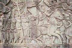 Bas-reliefs at Angkor Thom, Cambodia Royalty Free Stock Image