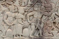 Bas-reliefs at Angkor Thom, Cambodia Stock Photo
