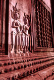 Bas-reliefs Angkor Wat. Bas-reliefs of Apsara dancers on walls of Angkor Wat- Cambodia Stock Photo