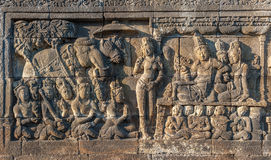 Bas-reliefs of Borobudur temple, Java, Indonesia Royalty Free Stock Image