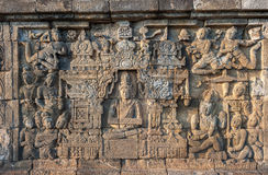 Bas-reliefs of Borobudur temple,  Java, Indonesia Stock Images