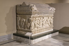 Bas-reliefs on the stones of the sarcophagi of the ancient inhabitants of Byzantium in Istanbul Stock Photography