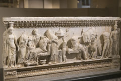 Bas-reliefs on the stones of the sarcophagi of the ancient inhabitants of Byzantium in Istanbul Stock Photos
