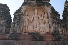 Bas-reliefs of temples of ancient Hampi Royalty Free Stock Photo
