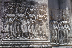 Bas-reliefs in upper terrace of Angkor Wat  complex Royalty Free Stock Photos