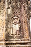 Bas-relif of Phnom Bakheng, one of the ruined temples of ancient Cambodia. Bas-relief of Phnom Bakheng, one of the ruined temples of ancient Cambodia in Siem Royalty Free Stock Photo